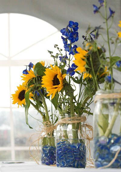 Fall Wedding Mason Jar Centerpieces