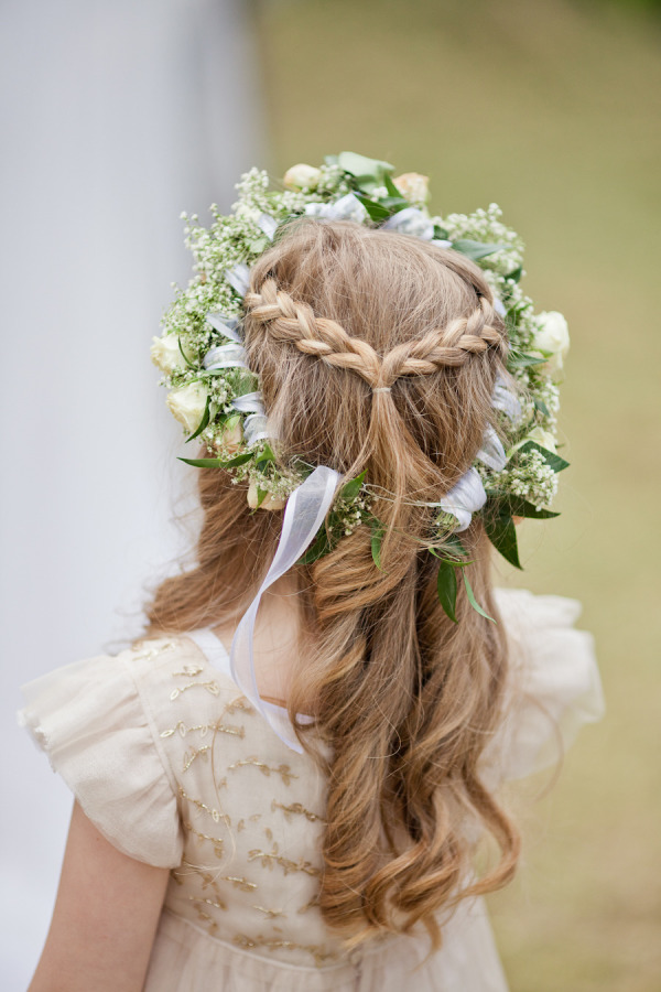 braid half-up half-down hairstyle with roses and babay's breath flower crown