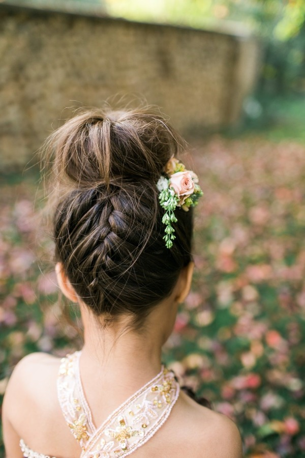 boho wedding ideas flower girl hairstyes with flower crown braids and updos for girls