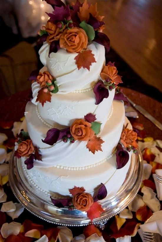 45  Incredible Fall Wedding Cakes that WOW   Deer Pearl Flowers     fall wedding cake purple and orange