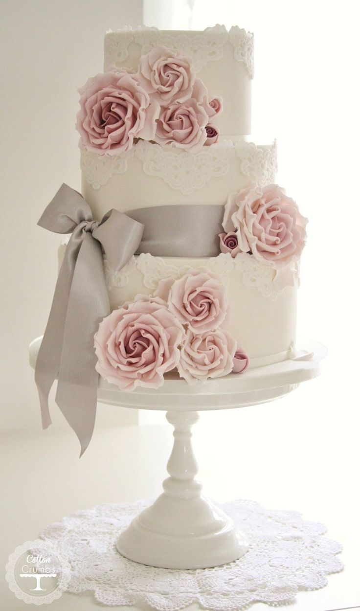 40  So Pretty Lace Wedding Cake Ideas   Deer Pearl Flowers white lace wedding cake with pink roses and gray ribbon