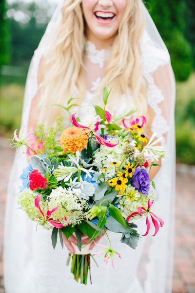 Bright Wildflower Boho Bridal Bouquet Deer Pearl Flowers