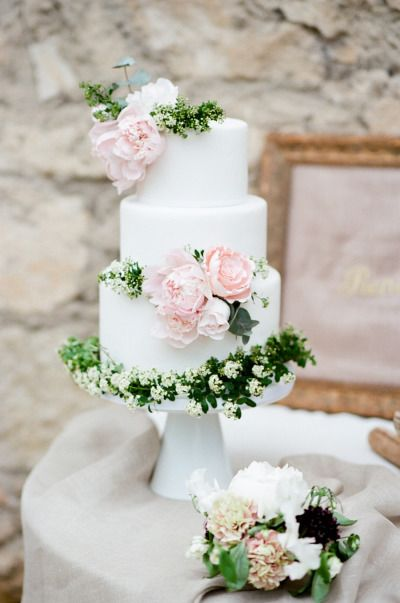white wedding cake with pink and green flowers   Deer Pearl Flowers white wedding cake with pink and green flowers