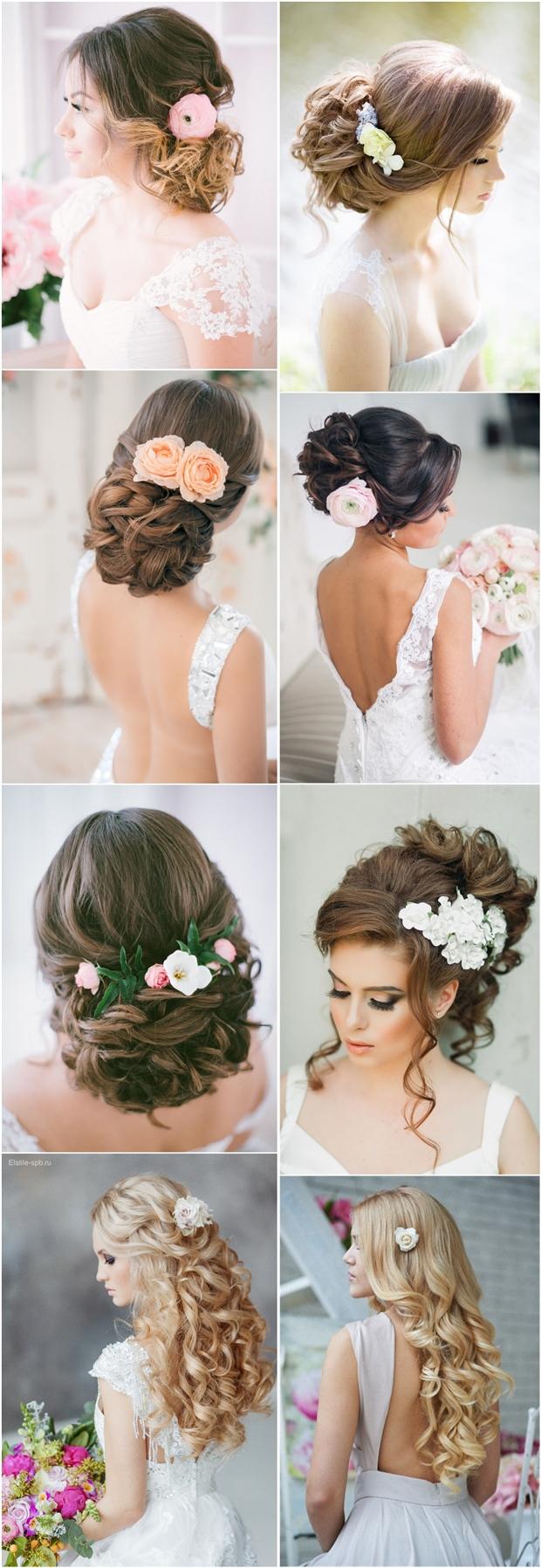 25 romantic long wedding hairstyles using flowers | deer