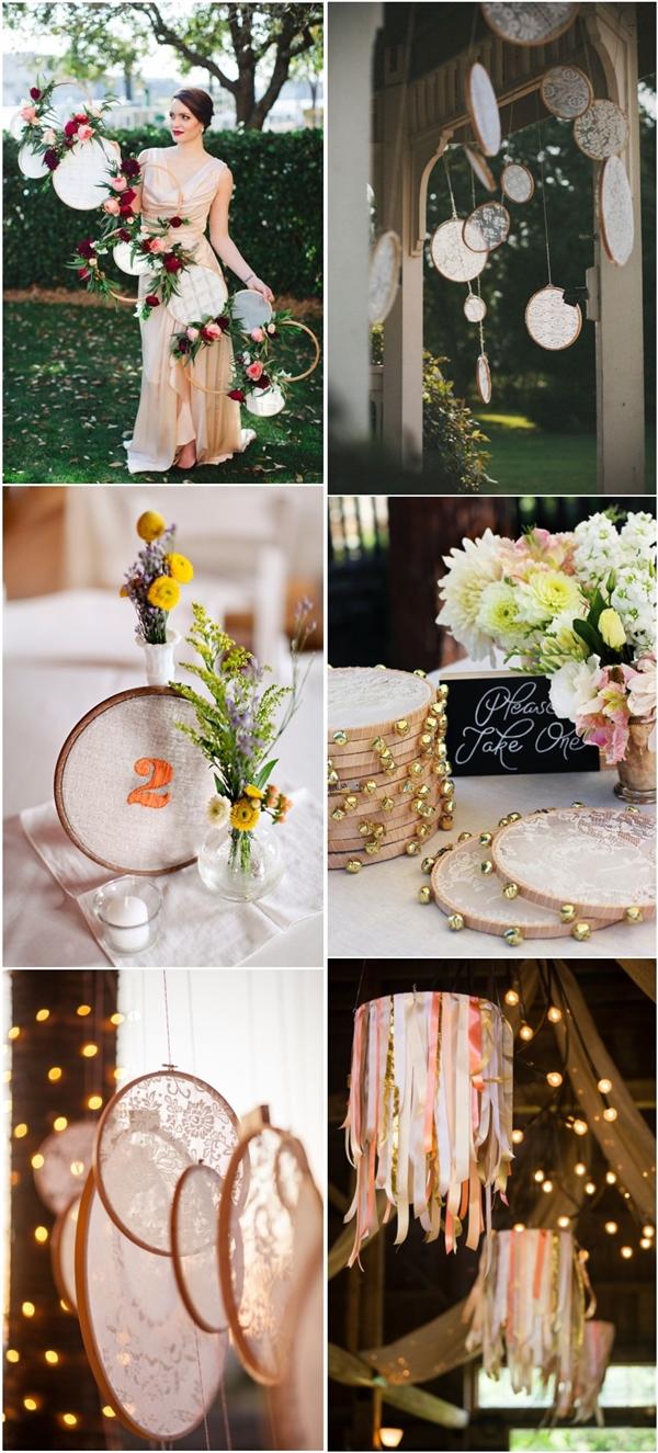Boho Wedding Ideas Embroidery Hoops Wedding Decor Ideas