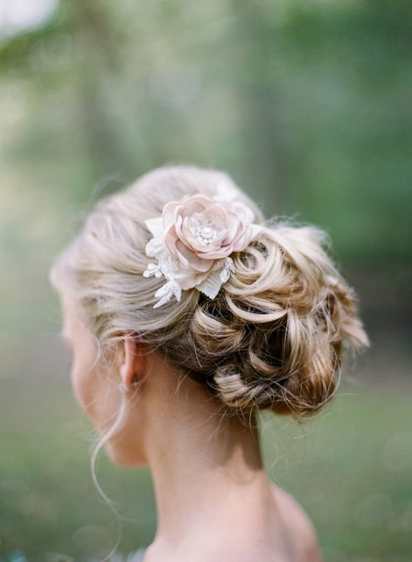 Floral Pinned Wedding Updo Hairstyle With Flowers Deer