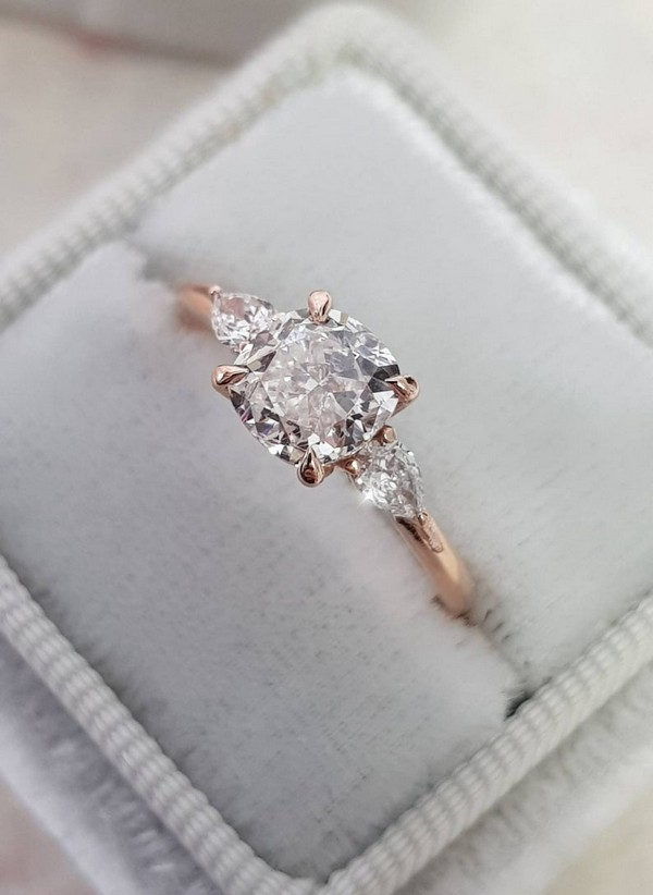 Cushion Cut with 2 Pear Shape Diamonds Rose Gold Engagement Ring