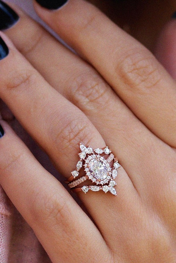 Oval Halo Rose Gold Engagement Ring
