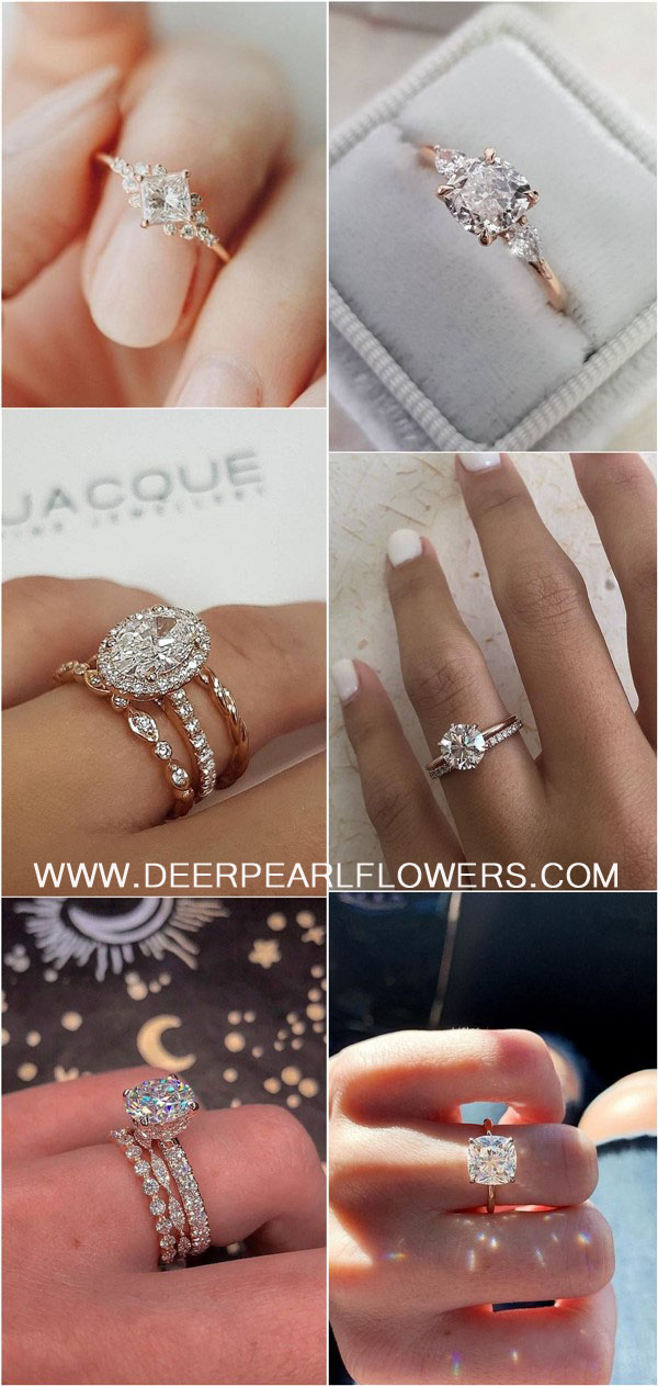 Rose gold engagement rings and wedding rings