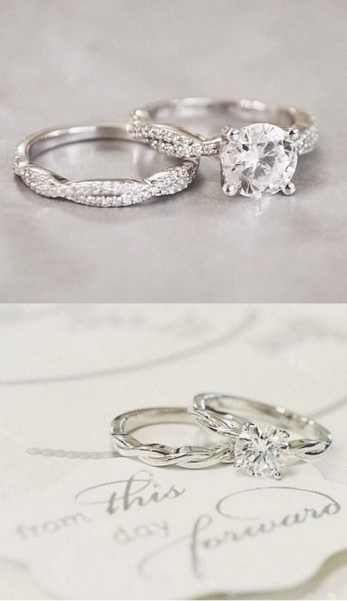 twist vintage wedding rings set - Antique Wedding Rings For Sale