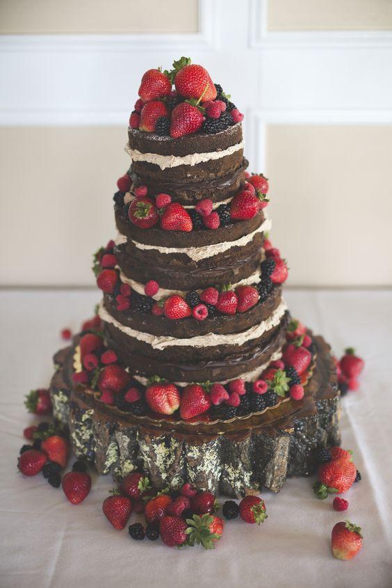 Naked Chocolate Wedding Cake With Fruit Via Rockhill