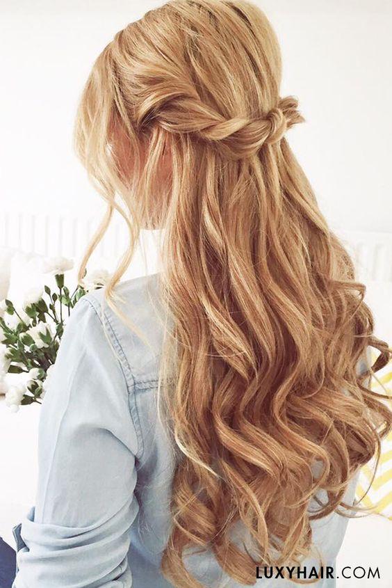 Twisted Half Up Half Down Hairstyles Deer Pearl Flowers