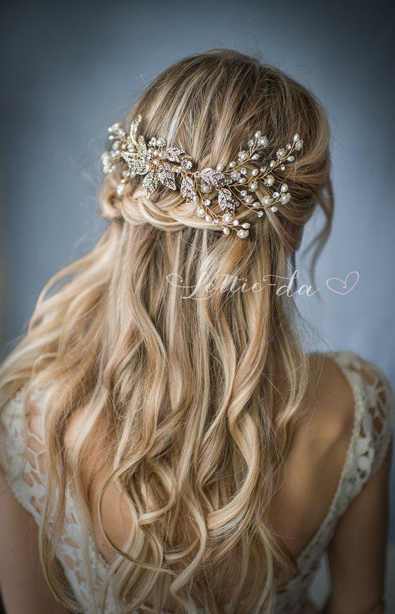 half up half down wedding hairstyle via lottiedadesigns