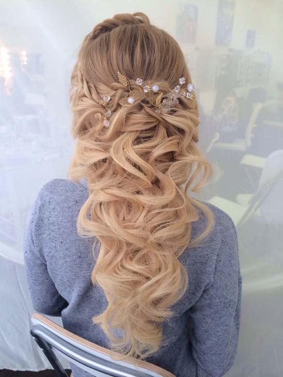 Long Curly Half Up Half Down Wedding Hairstyle Via