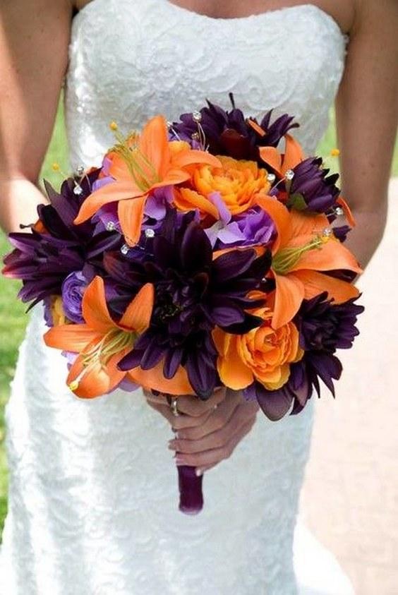 Wedding Orange Purple Black