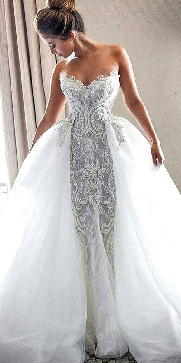 Sweetheart Vintage Lace Wedding Dresses Deer Pearl Flowers