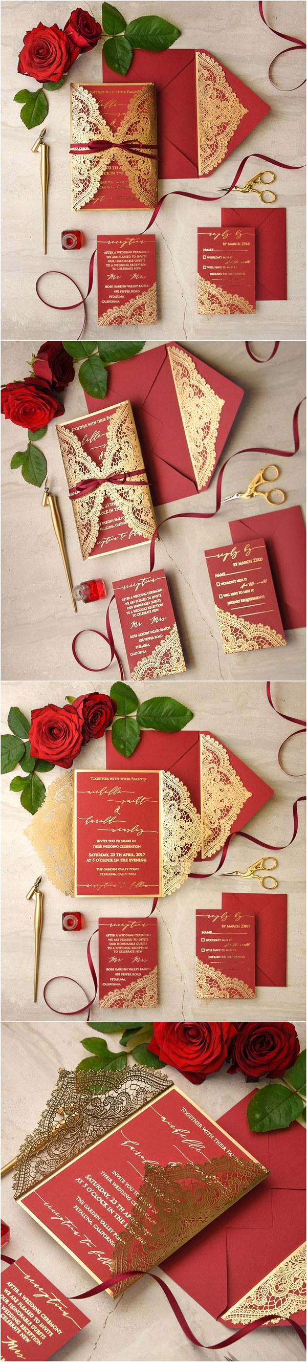 gold and red laser cut wedding invitations 01gnlaserz