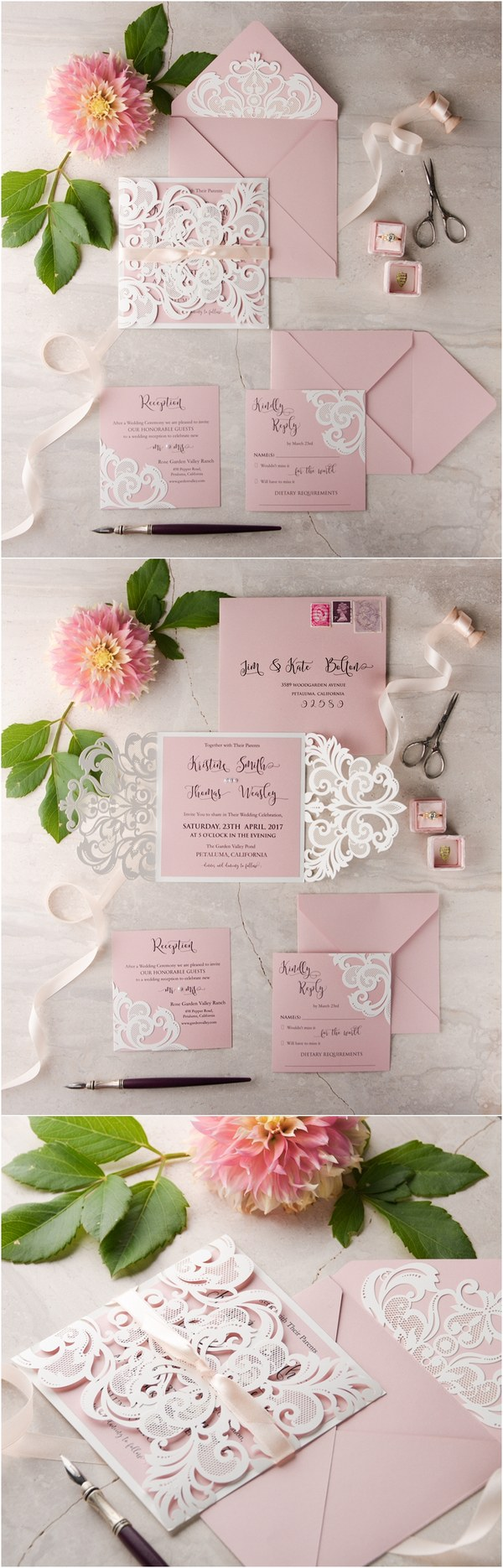 pink laser cut wedding invitations 08LuctGGz
