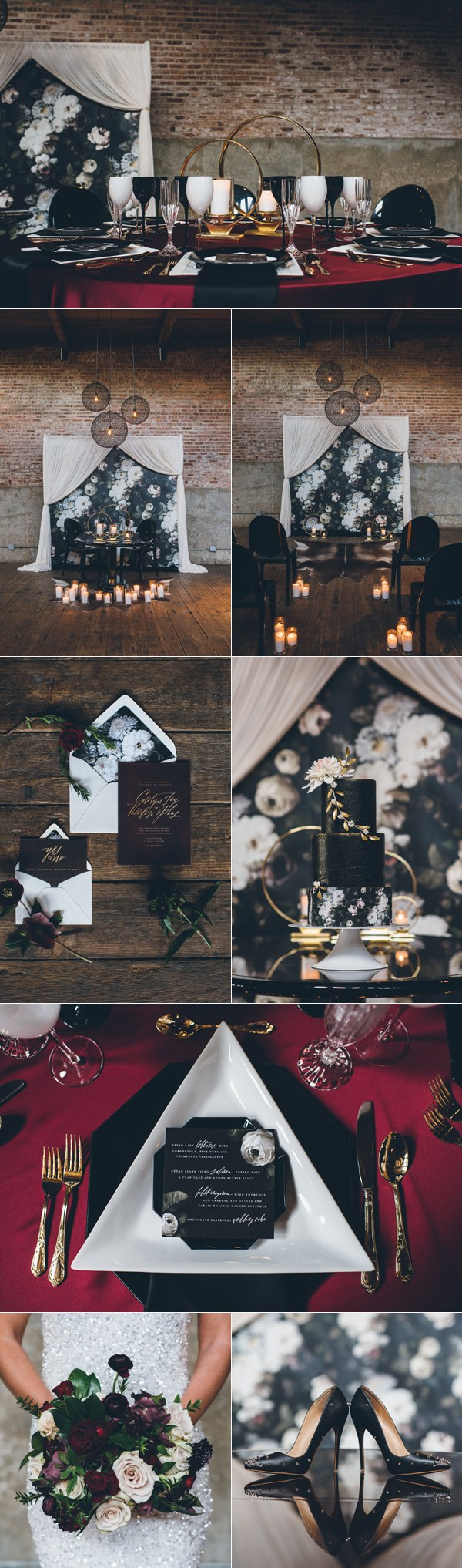 black white and gold industrial wedding ideas
