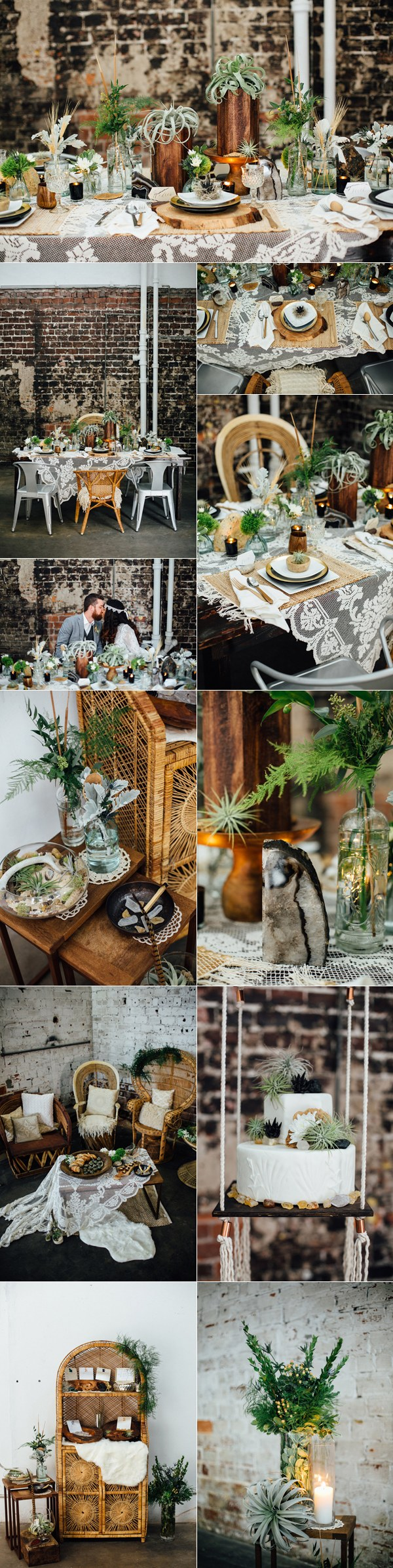 earthy industrial bohemian wedding ideas