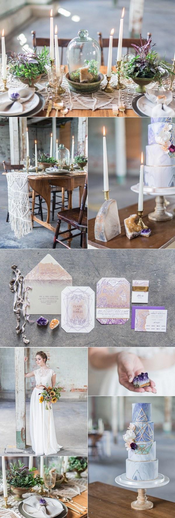 industrial bohemian geode wedding ideas