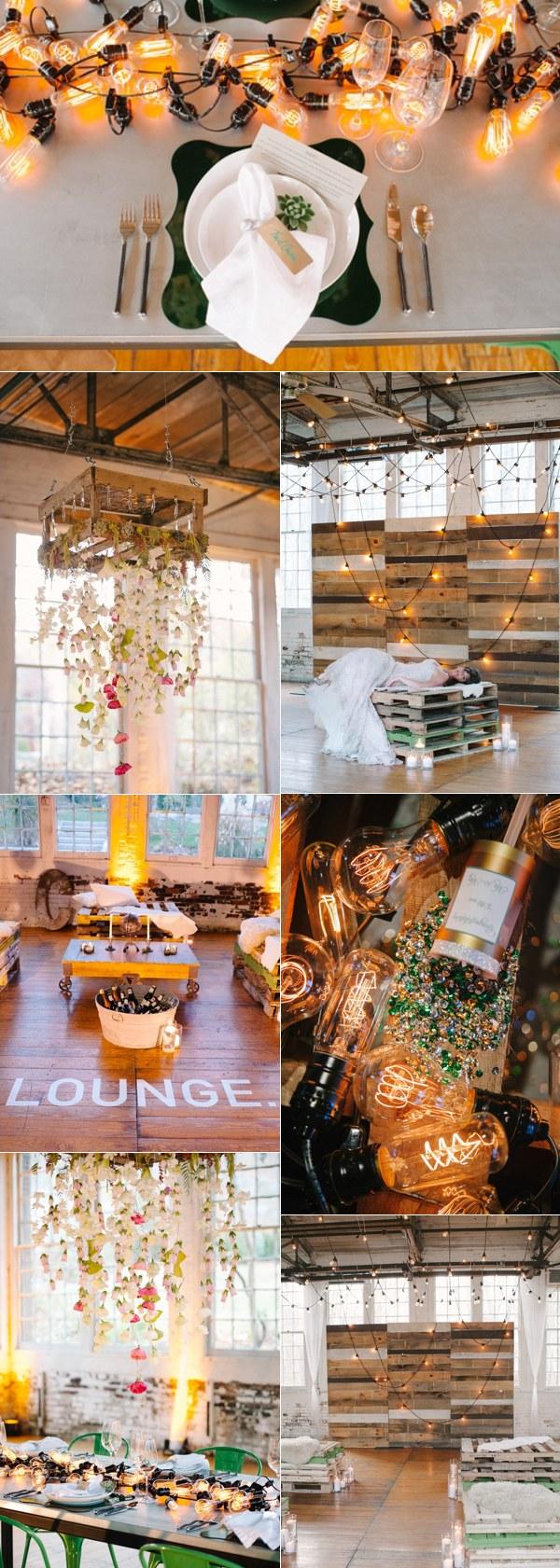 rustic illuminated industrial wedding ideas