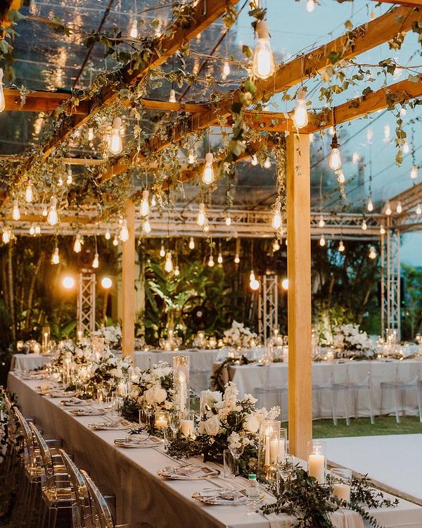 Romantic rustic wedding lighting decor ideas
