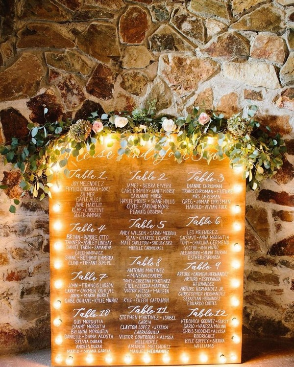 Rustic fall lighted wedding seating chart6