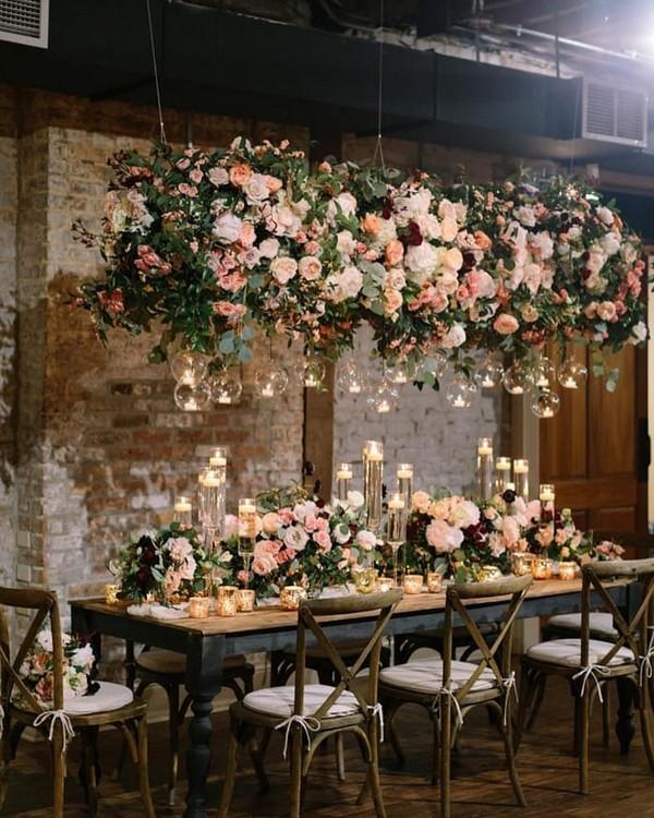 hanging blush flowers sweetheart table wedding decor 15
