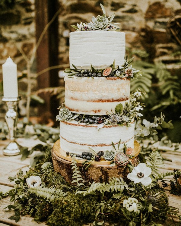 rustic naked wedding cake ideas 14
