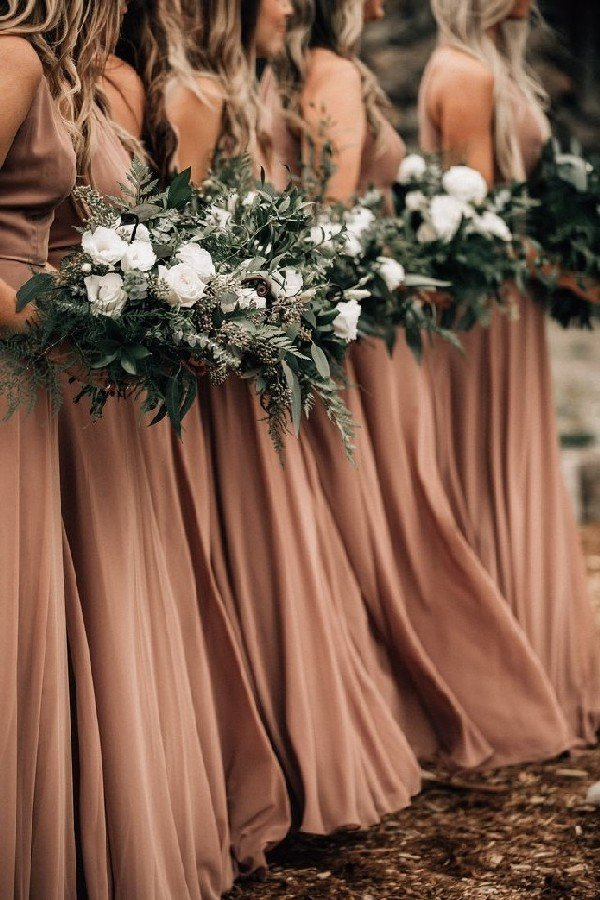 taupe bridesmaid dresses and greenery wedding bouquets