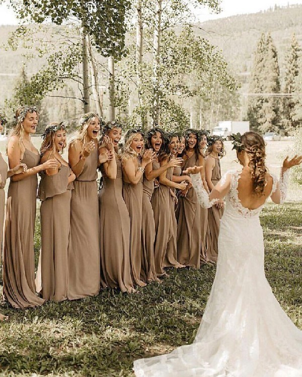 taupe mismatched bridesmaid dresses