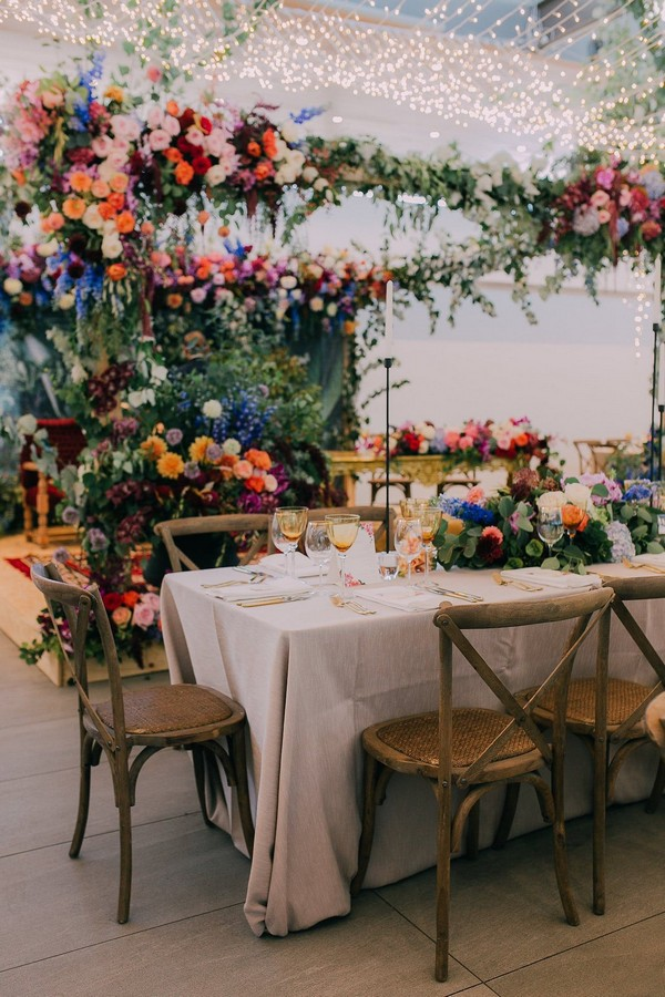 Colorful hanging wedding centerpiece