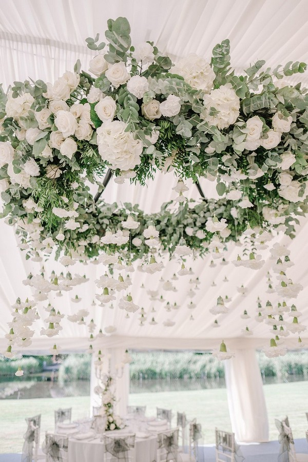 Hanging Greenery and White Flower Chandelier