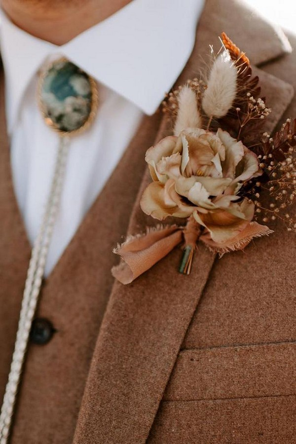 rust wedding color bohemian bridal boutonniere with rose and smal dry grass