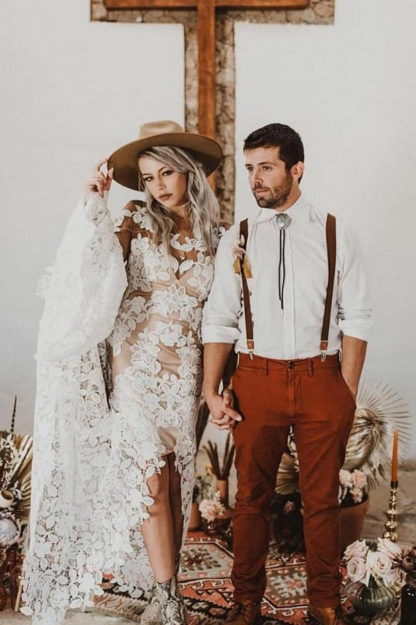 rust wedding color bohemian bride with bride in lace dress and hat