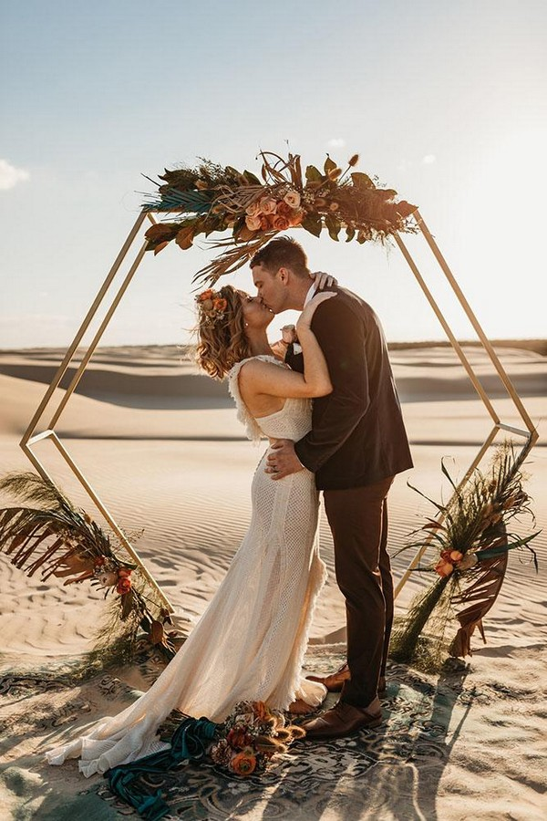 rust wedding color ceremony altar with geometry flower altar wolf wildflower