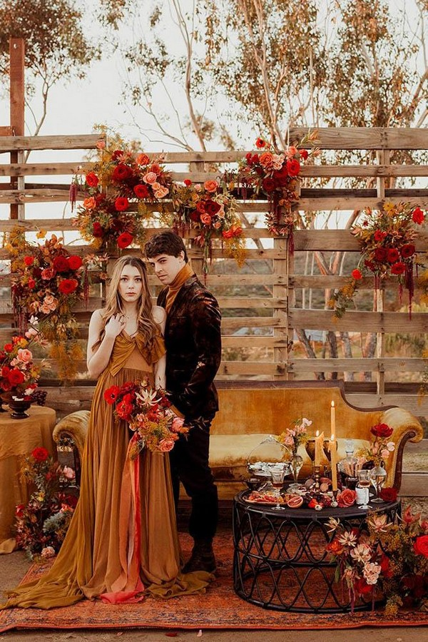 rust wedding color monochrome palette wooden crates decor with flowers and candles pacoandbetty