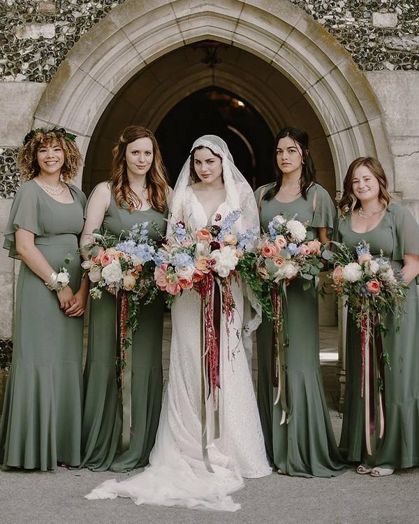 Boho mismatched bridesmaid dresses