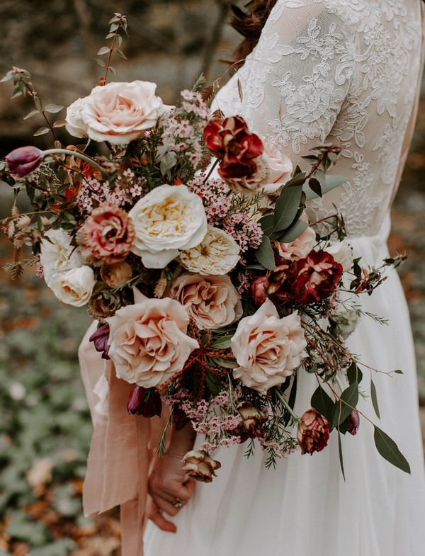 blush and red garden rose fall wedding bouquet