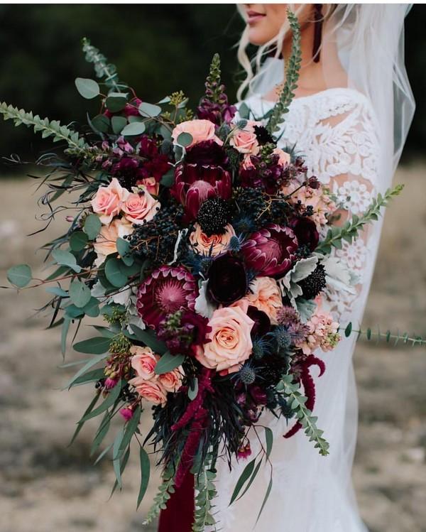 dark purple and coral wedding bouquet