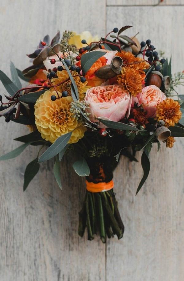 Fall orange wedding bouquet