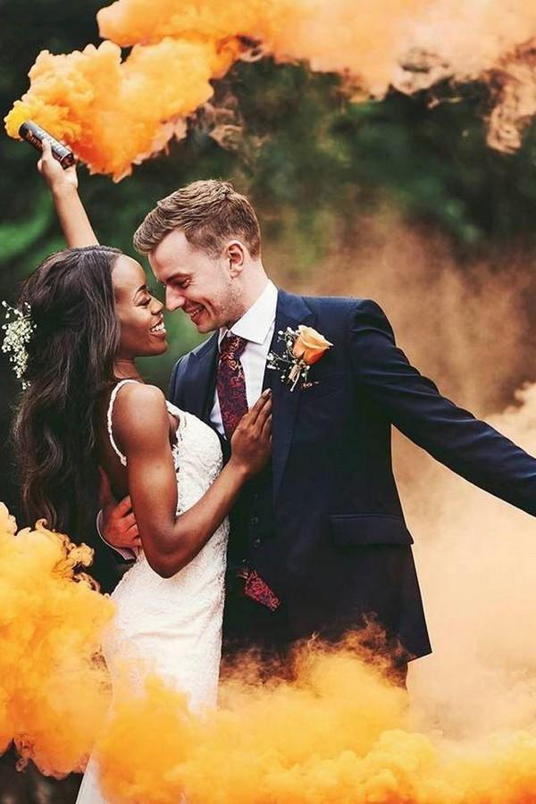 yellow smoke bomb wedding photo ideas
