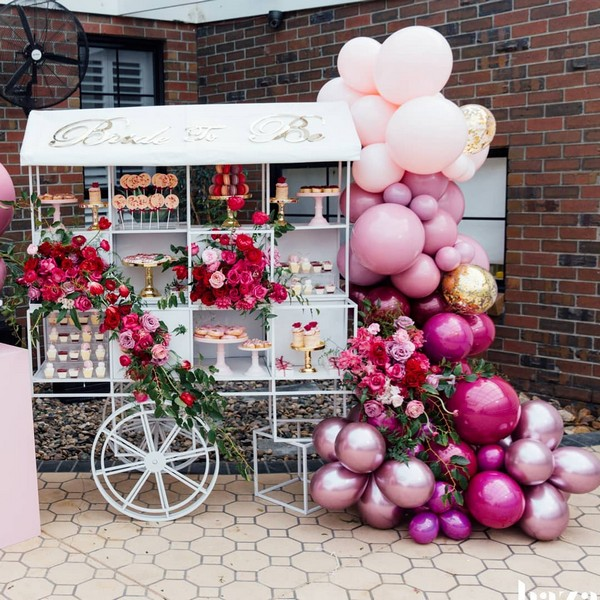 ombre pink balloons wedding food bar 18