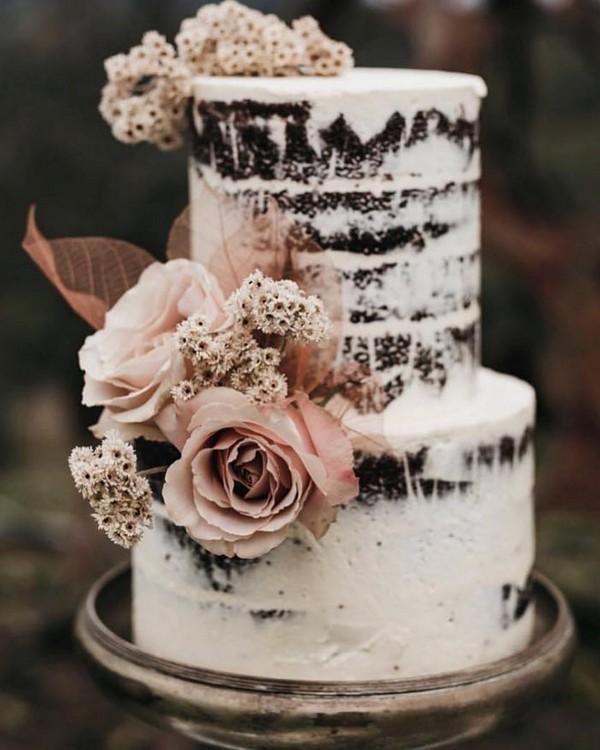 rustic naked wedding cake 17