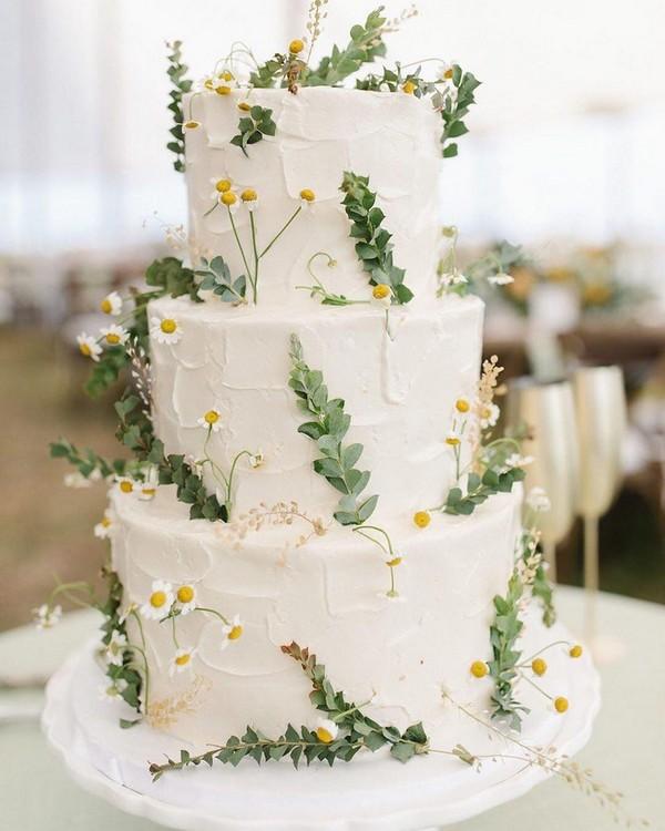 simple greenery buttercream wedding cake