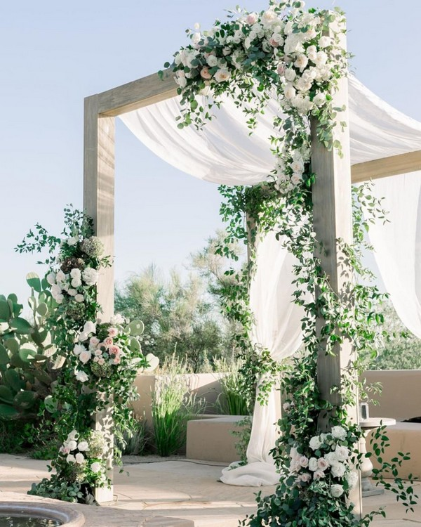 simple greenery wedding backdrop