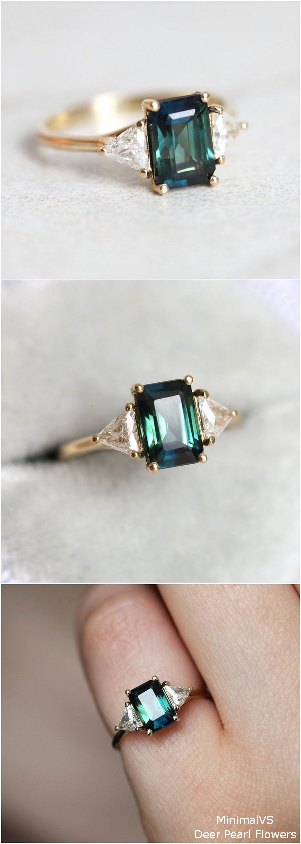 Bicolor Sapphire Engagement Ring With Side Trillion Diamonds