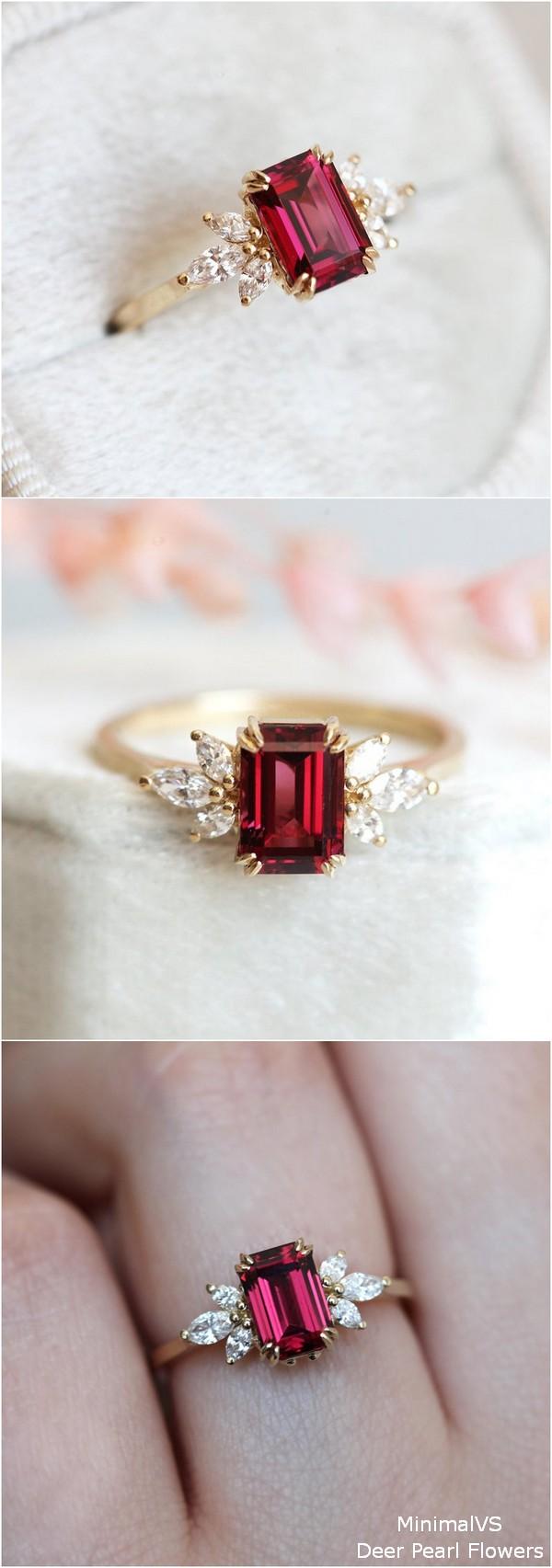 Diamond Garnet engagement ring