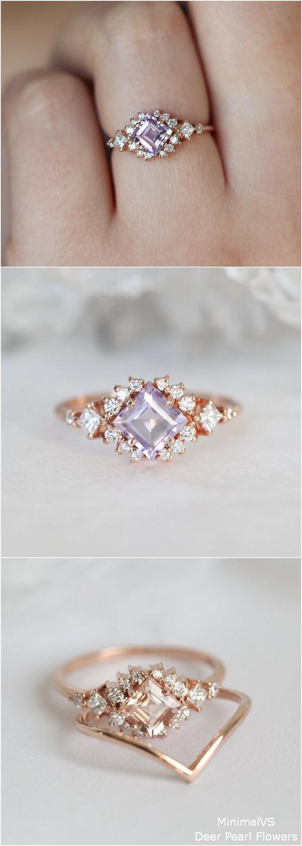 Rose Gold Lavender Amethyst Engagement Ring